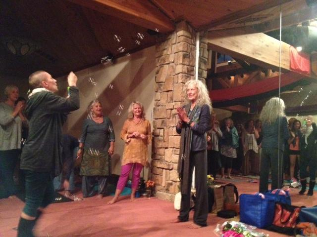 Picture of End of the Retreat celebrations and bubbles from Dorthe to mark my 75th Birthday!