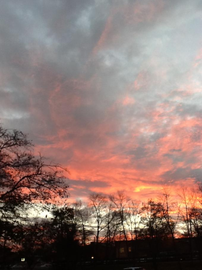 Photo of the sky as we left the Yoga Hall on the final day of teaching there.